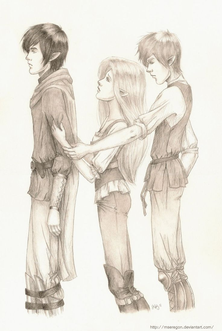 Ash, Meghan, and Puck from the Iron Fey series (Fan drawing) close to what I pictured in my head