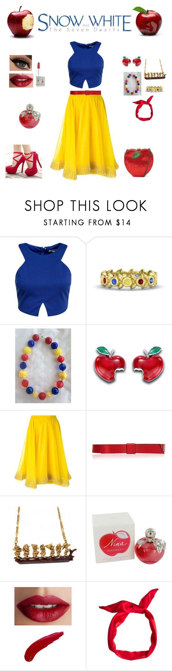 """Snow White contest entry"" by allycat95 ❤ liked on Polyvore featuring Glamorous, Gemvara, Disney, Manish Arora, Marni, Nina Ricci, TheBalm, BB Dakota, women's clothing and women's fashion"