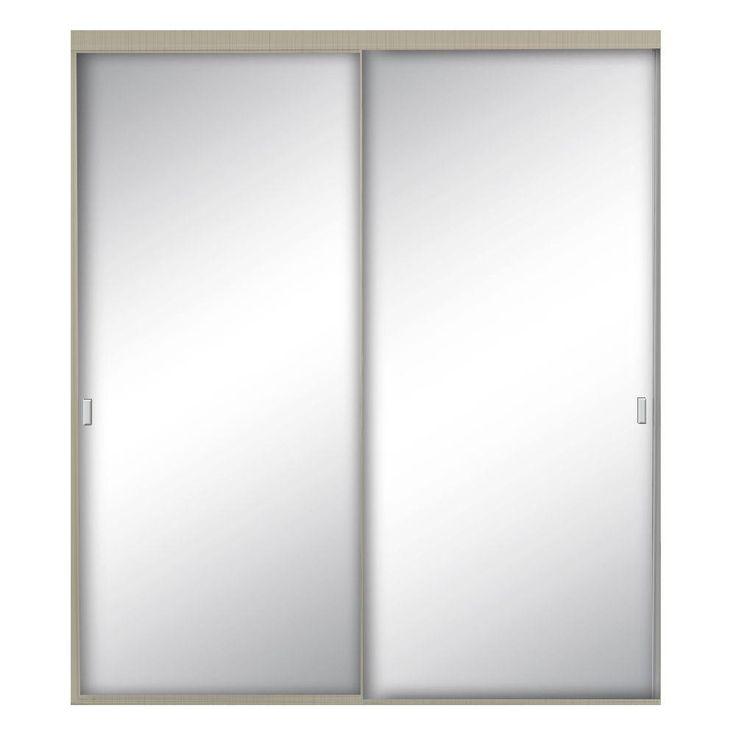 Contractors Wardrobe 48 in. x 80-1/2 in. Style Lite Brushed Nickel Aluminum Framed Mirror Interior Sliding Door, Brushed Nickel Finish