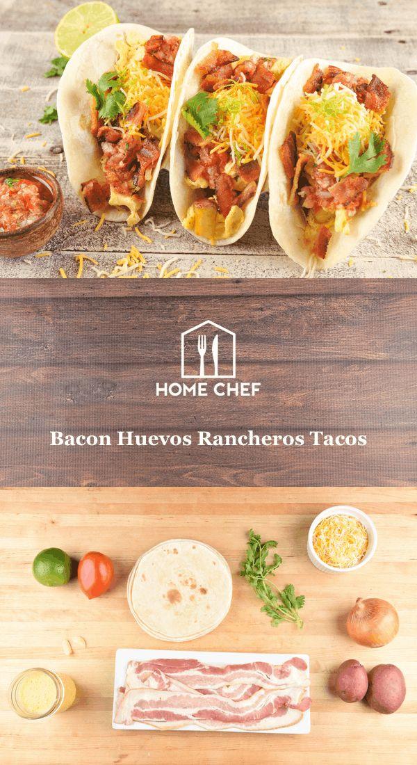Bacon Huevos Rancheros Tacos with salsa and crispy potatoes