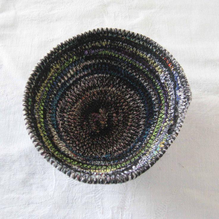 Fabric ring dish, key bowl, trinket dish, sundries basket, storage basket, rustic fabric dish, coiled fabric bowl, black thread white thread by Rethreading on Etsy