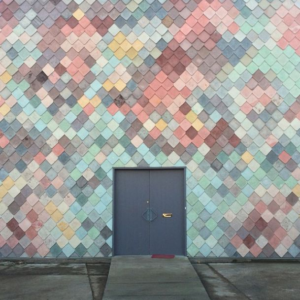 """Nice """"scale"""" like effect from shingle tile clad. Almost like a coi carp..."""