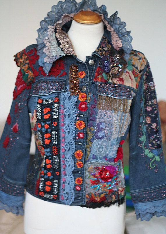 Time traveller-- colorful crazy bohemian denim jacket, textile art jacket with antique lace and hand embroideries,