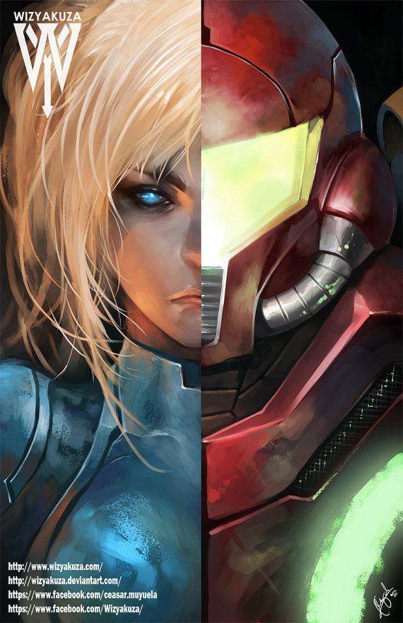 Samus Aran Split - Metroid et Super Smash Brothers - 11 x 17 Digital Print