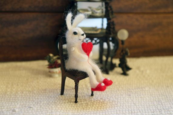 Needle felted small white bunny/rabbit/hare with by donidinadya