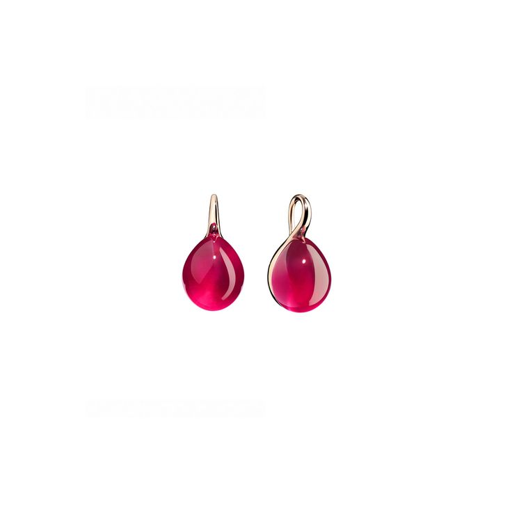 EARRINGS IN 9 CARAT ROSE GOLD WITH SYNTHETIC RUBY