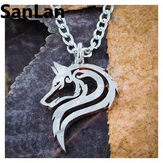 Howling Wolf Stainless Steel Necklace Pendant Wolf Howls Silver Moon Night Wolf