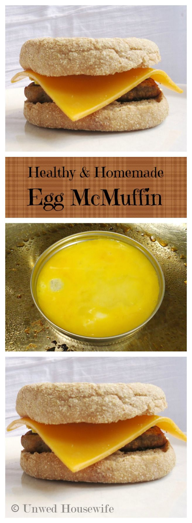 Healthy and Homemade Egg McMuffin | Unwed Housewife | A delicious breakfast sandwich that is less than 500 calories. Turkey sausage, egg, and American cheese on a wheat English muffin makes this the perfect breakfast. Learn how to easily cook the egg.