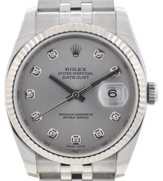 Rolex 116234 Datejust Stainless Steel Factory Diamond Dial Fluted Bezel Watch. Get the lowest price on Rolex 116234 Datejust Stainless Steel Factory Diamond Dial Fluted Bezel Watch and other fabulous designer clothing and accessories! Shop Tradesy now