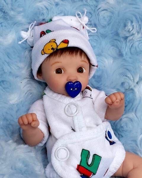 "Miniature OOAK hand SCULPTED newborn BABY BOY clay ART doll by: Dawn McLeod 7"""