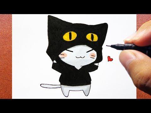 Como Desenhar Um Gato Kawaii Com Roupa De Gatinho Youtube