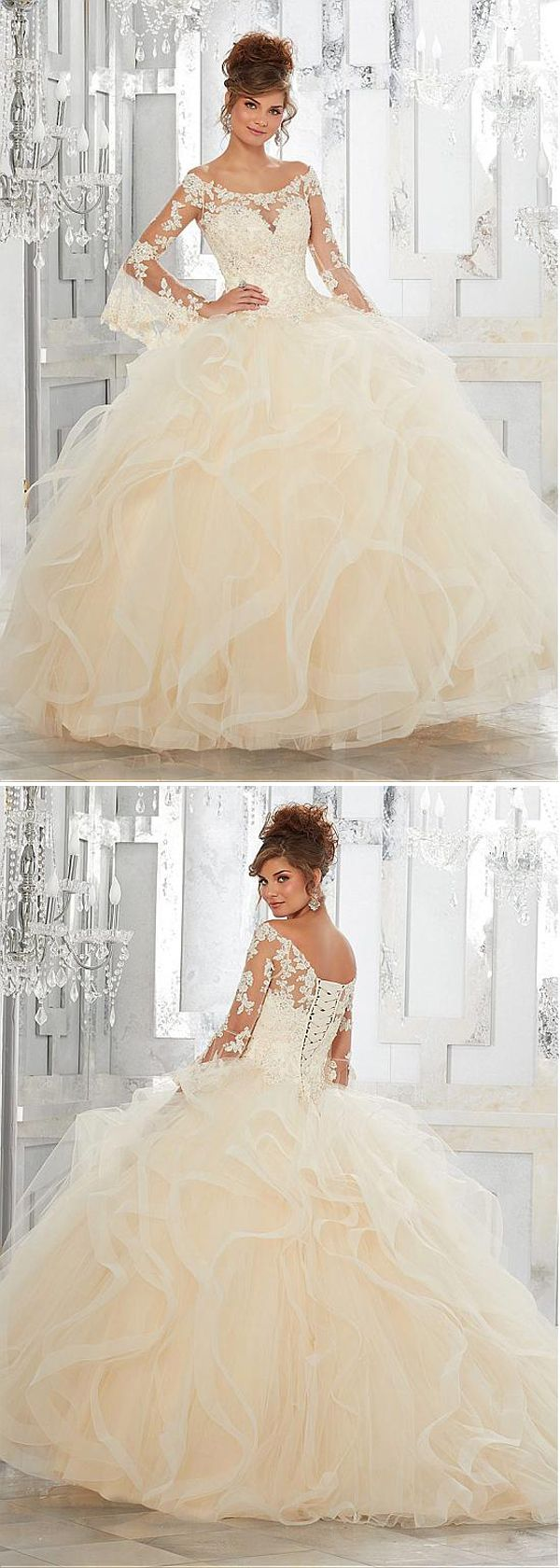 Elegant Tulle Off-the-shoulder Neckline Ball Gown Quinceanera Dresses With Beaded Lace Appliques