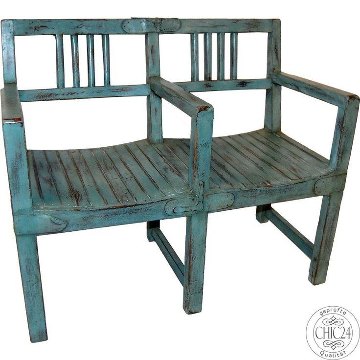 Bank Vintage Blau - chic24 - Vintage Möbel und Industriedesign Lampen Online kaufen, € 379,00