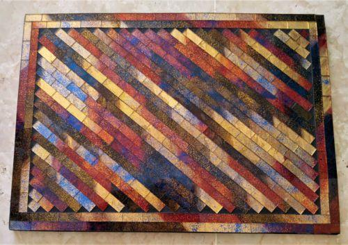 ARTISANAT-Dessous-de-plat-MOSAIQUE-multicolore-deco-ou-utile-34-x-24-x-1-cm-NEUF