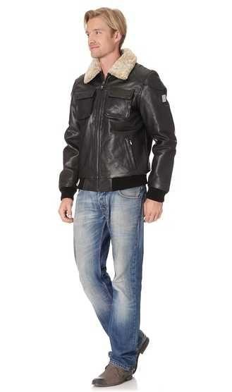 Кожаная куртка пилот из воловьей кожи от Otto Kern ! Германия р. 50 ! Съемный цигейковый воротник !