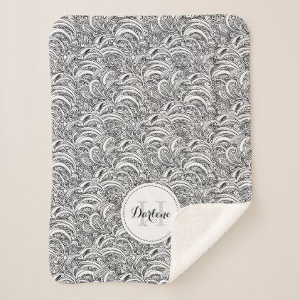 Paisley pattern ink mono name sherpa blanket - patterns pattern special unique design gift idea diy