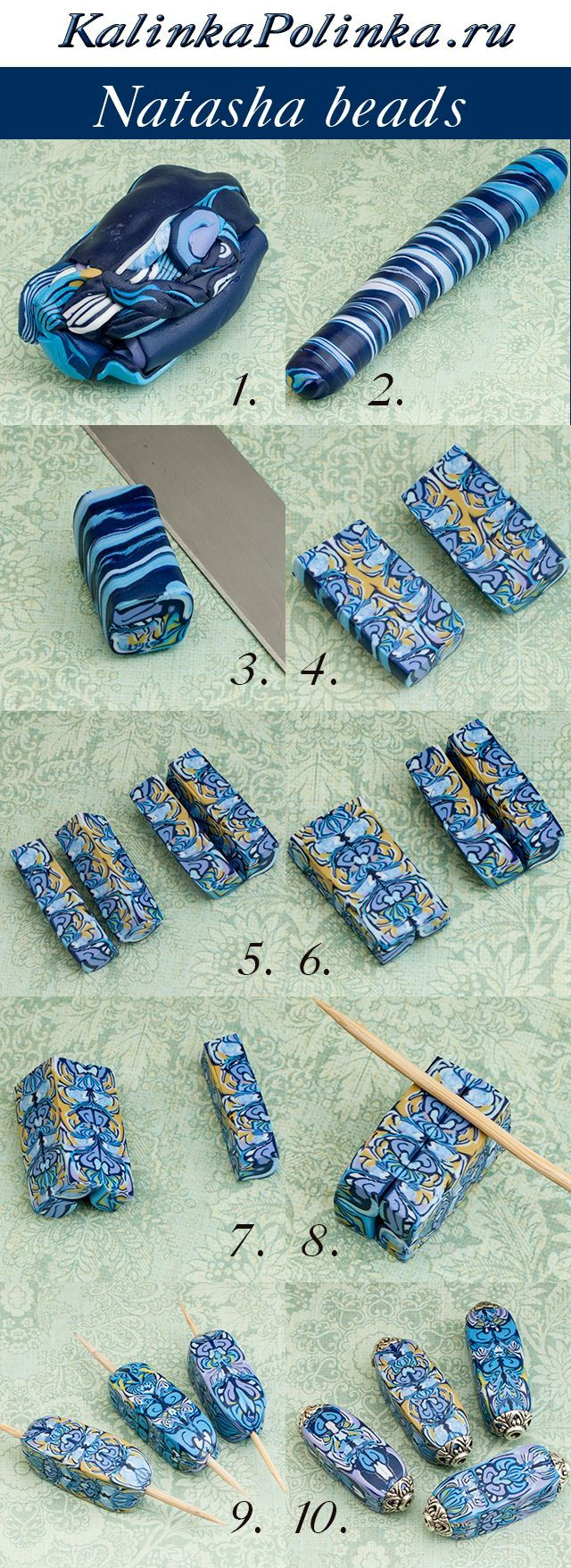 Natasha beads ~ Polymer Clay picture Tutorials