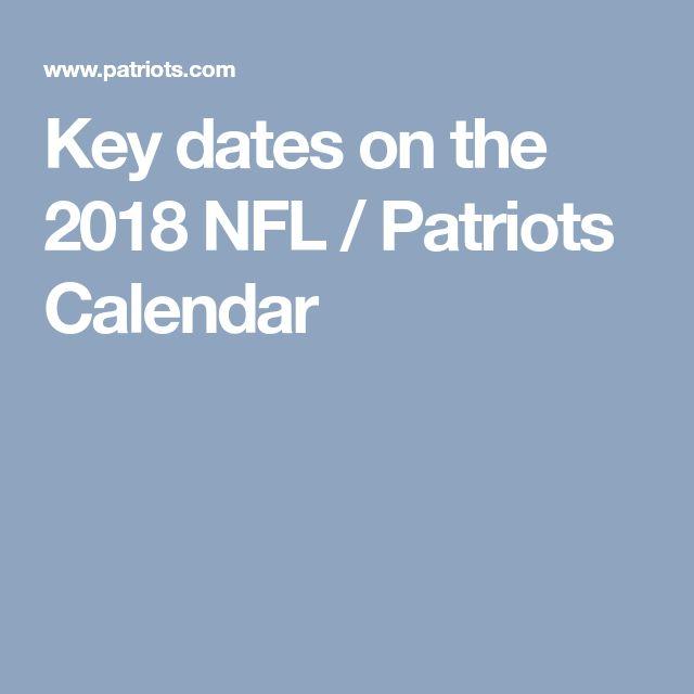 Key dates on the 2018 NFL / Patriots Calendar