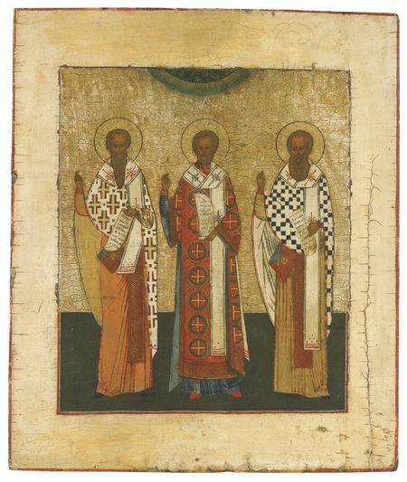 Svv-Vasilij-Velikij-Ioann-Zlatoust-i--Grigorij-Bogoslov-(XIX-v)-(chastnaya-kollekciya)