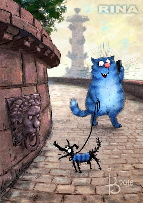 """Просмотреть иллюстрациюРина З. - Прогулка (Из серии """"Котики в Питере"""")."""