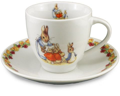 Porcelain Cup and Saucer: Peter Rabbit and Family – Tales for Tadpoles