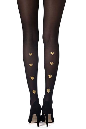 Collant Love-me-tender. Stampa oro su collant nero. Collant nero opaco - 20 denari. Stampa oro su due gambe. Questi collant possono essere indossati con la stampa sul davanti o dietro.
