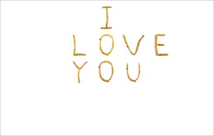 I Love You - made out of the French Fry alphabet.  Example image created with the collage tool PicMonkey.