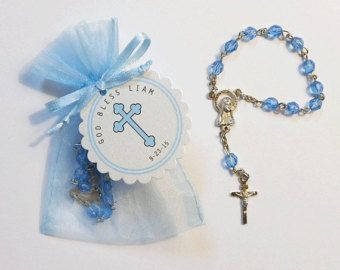 25 Mini Rosary Favors - Baby Boy Baptism Favors - Christening Favors - Organza Bag - Rosary Favors - Blue - Mini Rosary - Cross