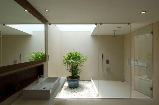 จ ดสวนในห องน ำ พ นห นน ำตก Vastu House Bathroom Design Luxury Indoor Outdoor Bathroom