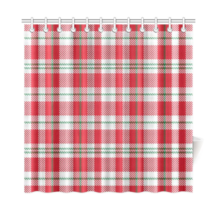 Red, White And Green Xmas Christmas Plaid Shower Curtain ...