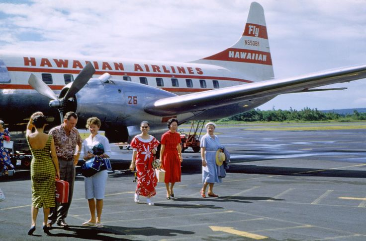 Vintage 1958: On the tarmac at Hilo Airport, on the Big Island of Hawaii.