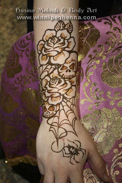 skull roses tattoo in henna winnipeg by hennajunkie95, via Flickr