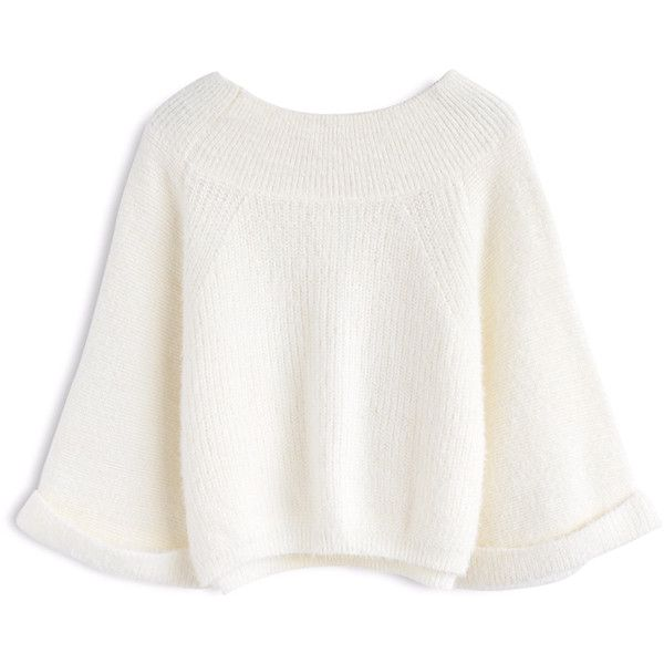 Candy Hue Fluffy Off-Shoulder Knit Sweater in White ❤ liked on Polyvore featuring tops, sweaters, off-shoulder sweaters, flared sleeve sweater, white knit sweater, white sweater and off the shoulder bell sleeve top