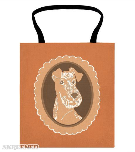 Irish Terrier Brown Cameo tote bag by artbyabigail at Skreened; Abigail Davidson Art