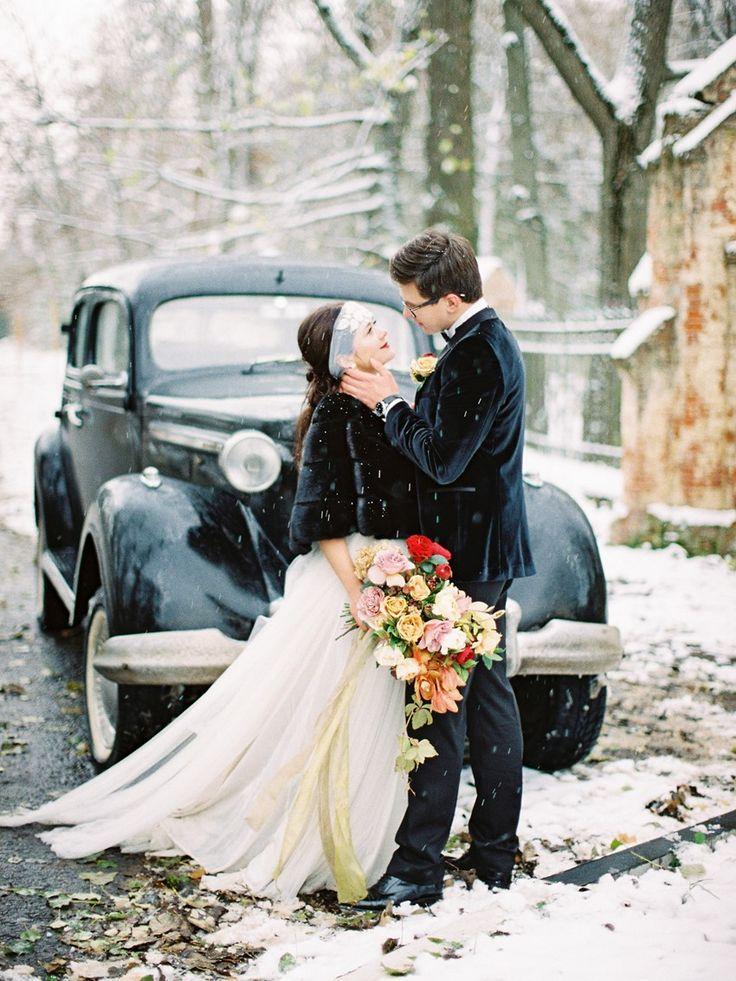 Snowy Vintage Winter Wedding