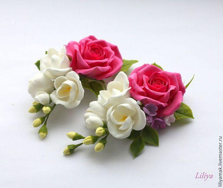Купить Розовая роза и фрезия (зажим для волос) - розовый, розы ручной работы, фрезия