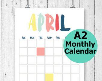Grand calendrier mural, calendrier mensuel, calendrier imprimable mural, calendrier imprimable, non daté calendrier, calendrier moderne, calendrier A2,