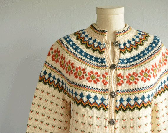 Vintage Nordic Wool Fair Isle Cardigan / Hand Knit Sweater