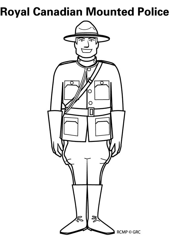 Royal Canadian Mounted Police colouring page