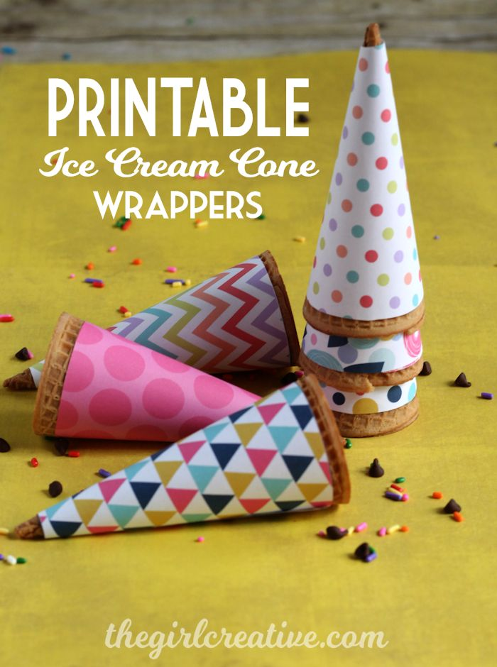 Printable Ice Cream Cone Wrappers