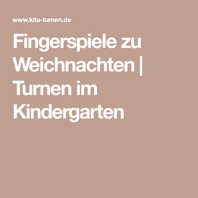 Fingerspiele zu Weichnachten | Turnen im Kindergarten