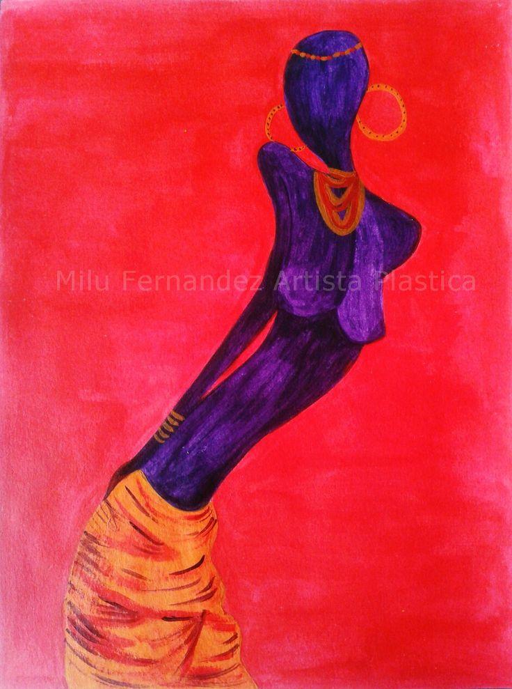 Africana sensual (acrílico)