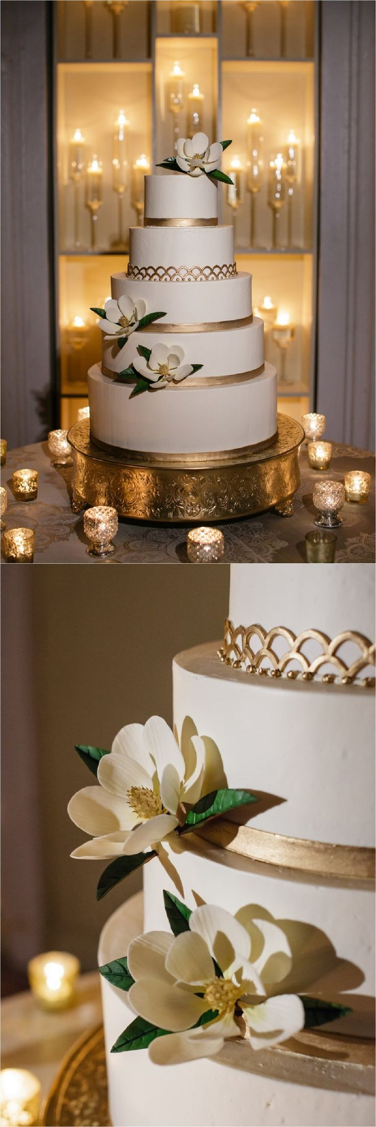 Gold and white cake with magnolia flowers | Melissa's Fine Pastries | How to transform an open ballroom with stunning decor | Sapphire Events | Greer G Photography | Board of Trade | White and Gold Wedding | Winter Wedding Inspiration | White and Green Wedding | Ballroom wedding