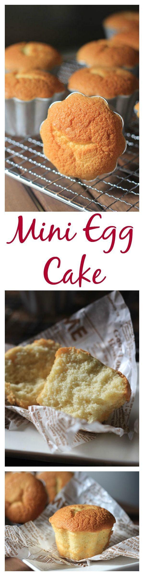 Mini egg cake. Soft, airy, light sponge cake. Learn how to make these mini cakes | rasamalaysia.com
