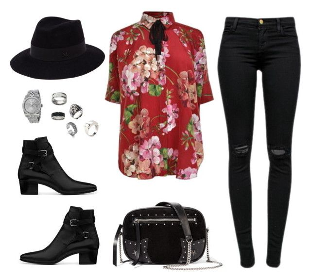 """""""If Harry Styles was a girl"""" by dasha-bykanova ❤ liked on Polyvore featuring Gucci, J Brand, Yves Saint Laurent, Maison Michel, Manuel Bozzi, John Hardy, Degs & Sal, Rolex and Karl Lagerfeld"""
