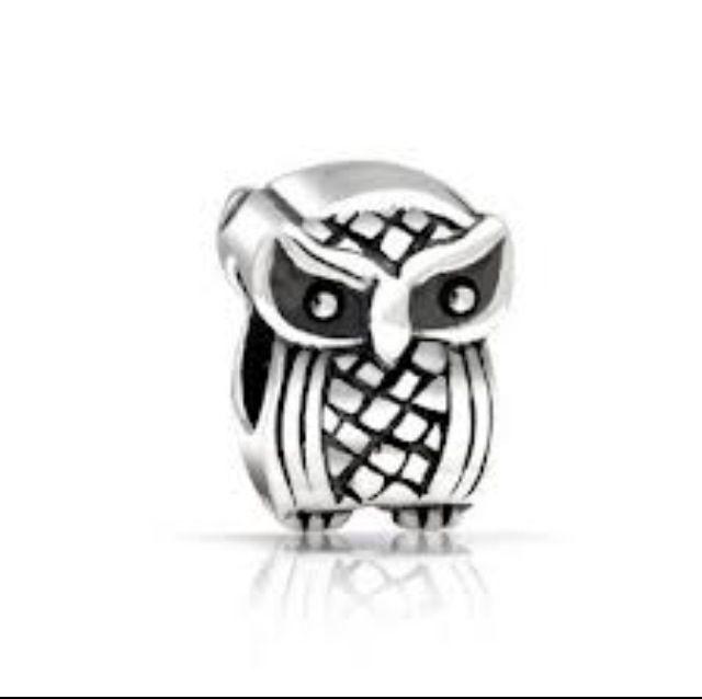 Wise Owl Charms Genuine 925 Sterling Silver Black Eye Owl Wisdom Charm Animals Charms Bead tApNMz