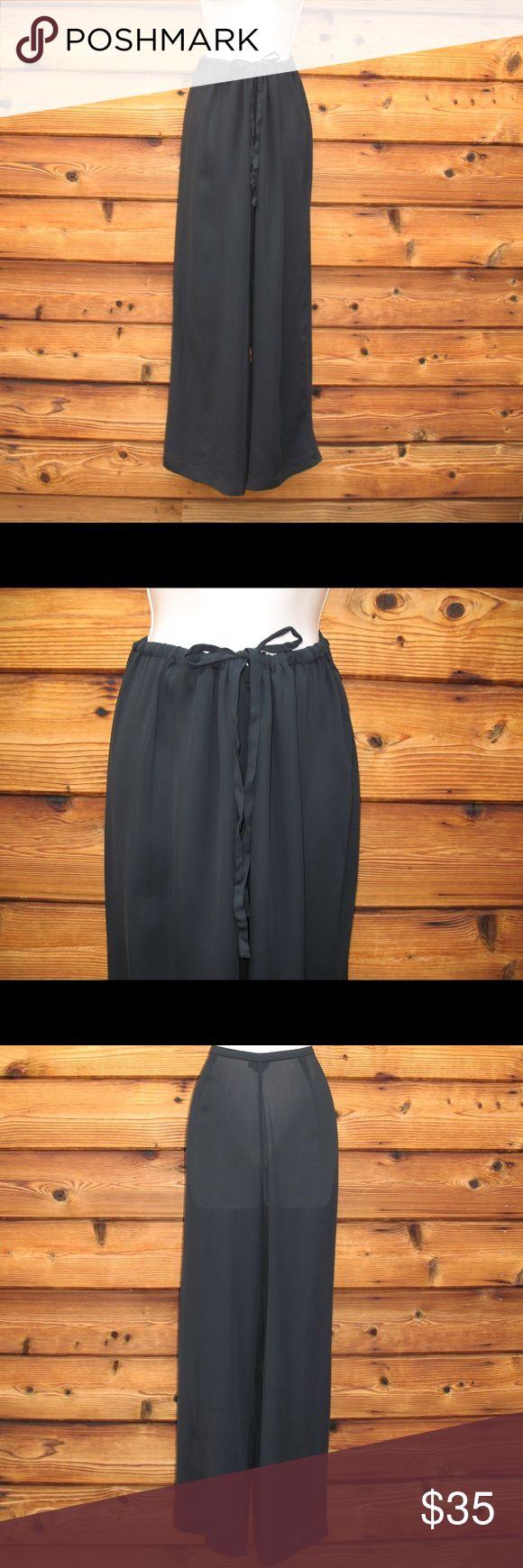 """J. Crew Drawstring Waist Chiffon Pants Wide Leg J. Crew Drawstring Waist Chiffon Pants  *Very good condition.  Details: J.Crew Size: M Color: Black Wide-leg Full drawstring waist Rayon chiffon fabric No pockets Unlined  Measurements: Waist: 36"""" (Undrawn) Hips: 50"""" Inseam: 31"""" Leg Opening: 24"""" J. Crew Pants Wide Leg"""
