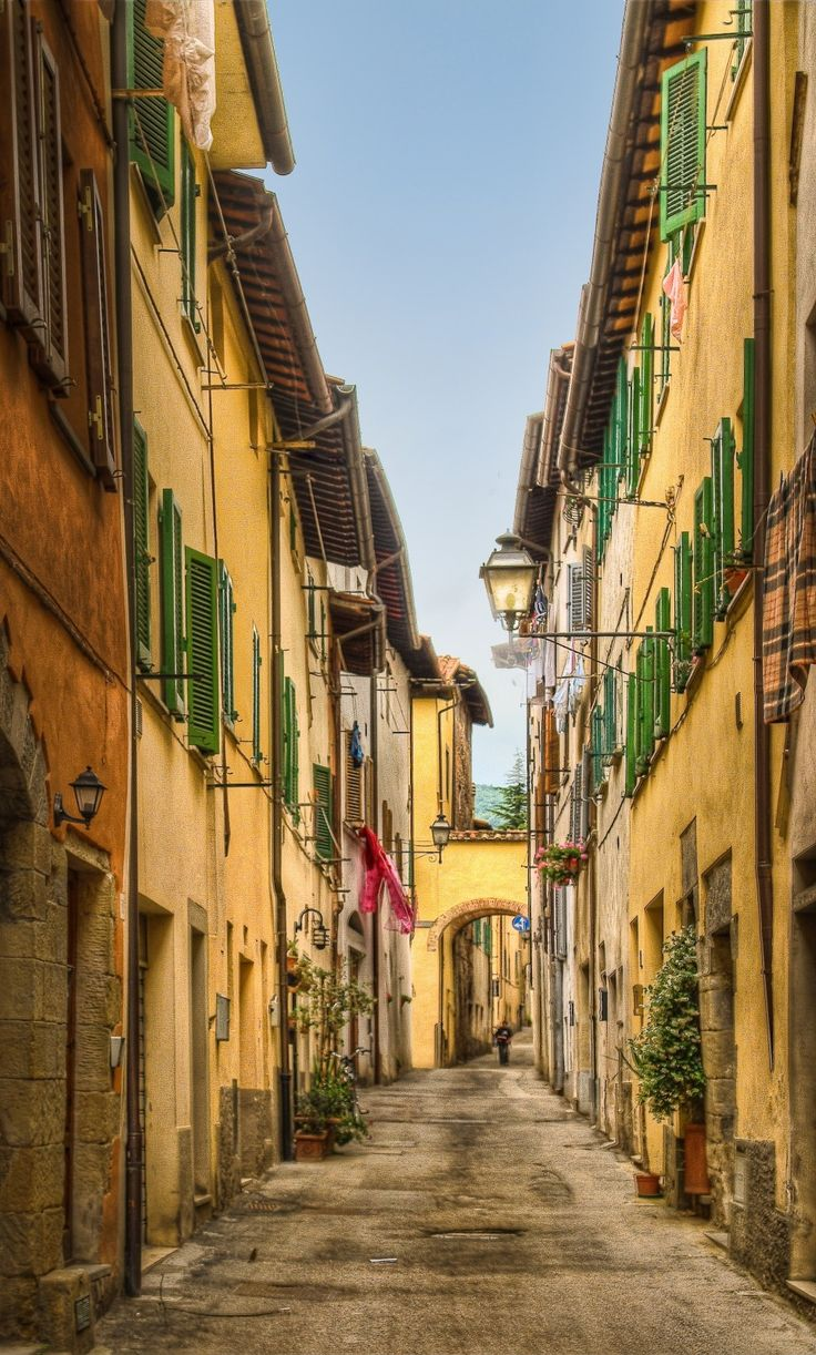 Narrow street in Sansepolcro Tuscany