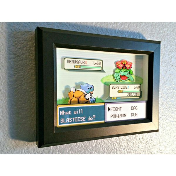 CUSTOMIZABLE Pokemon Fire Red/Leaf Green Battle Scene Shadow Box ($45) ❤ liked on Polyvore featuring home, home decor, red home decor, shadow box, wood shadow box, wood home decor and red home accessories
