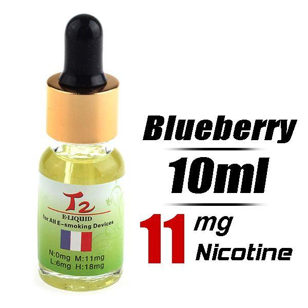 Quit Smoking T2 10ml Flavor strength Medium 11mg/g Electronic Cigarette Liquid (Blueberry) - Harmless top quality nicotine free e-cigarettes...